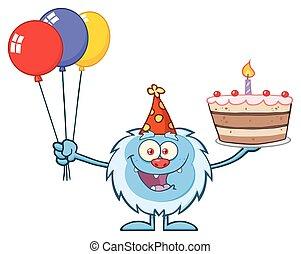 gâteau, peu, anniversaire, tenue, yeti