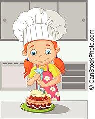 gâteau, peu, cuisine, dessin animé, girl