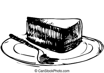 gâteau, plaque, croquis, morceau, dessert