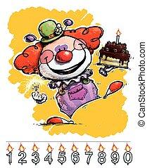 gâteau, porter, anniversaire, clown