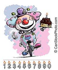 gâteau, porter, anniversaire, clown, monocycle, bébé
