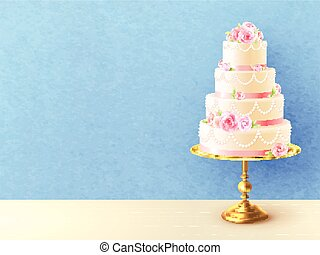 gâteau, réaliste, image, mariage, roses