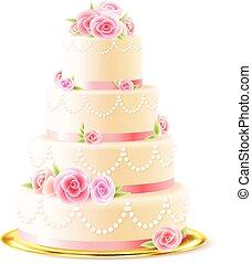 gâteau, réaliste, roses, mariage, classique