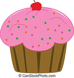 gâteau, rose, tasse, cerise