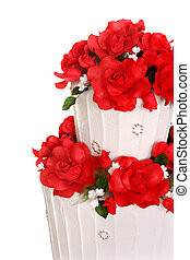 gâteau, roses, rouges, mariage