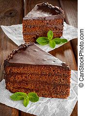 gâteau, sacher, chocolat