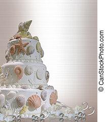 gâteau, seashells, invitation mariage