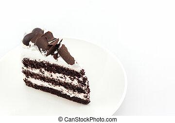 gâteau, slice., chocolat