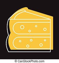 gâteau, tarte, icône, dans, griffonnage, style, vecteur, illustration, pour, conception, et, toile, isolé