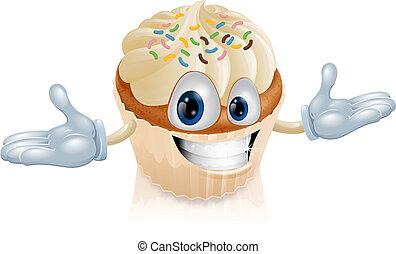 gâteau, tasse, illustration, mascotte