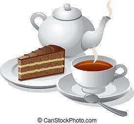 gâteau, thé