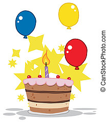 gâteau, tiered, bougie anniversaire