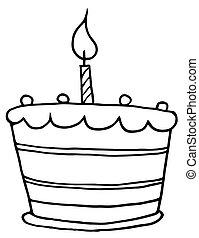 gâteau, tiered, esquissé, anniversaire