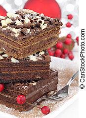 gâteau, tranches, noël, chocolat