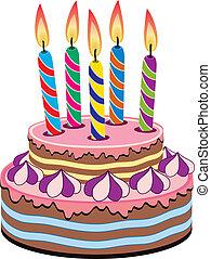 gâteau, vecteur, anniversaire
