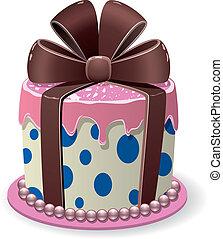 gâteau, vecteur, chocolat