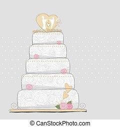 gâteau, vecteur, conception, mariage