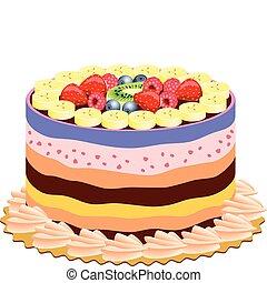 gâteau, vecteur, délicieux, fruits