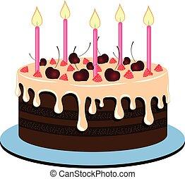gâteau, vecteur, illustration., délicieux, baies