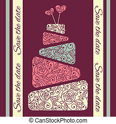 gâteau, vecteur, mariage