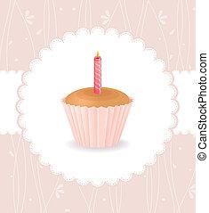 gâteau, vendange, carte anniversaire