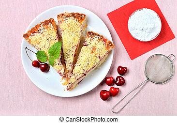gâteau, vue, traditionnel, above., tchèque, cherries., soufflé