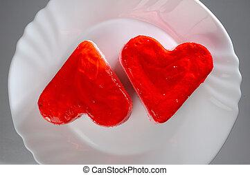 gâteaux, agréable, forme coeur