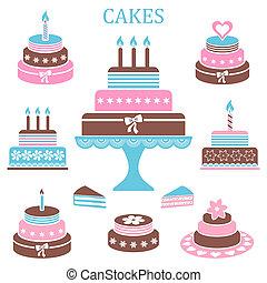 gâteaux, anniversaire, mariage