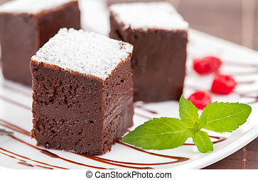 gâteaux, brownies, doux, fantaisie, chocolat, ou