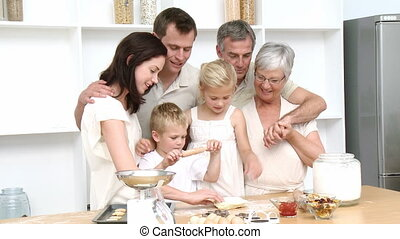gâteaux, cuisson, famille, heureux