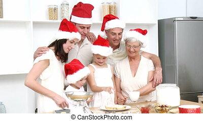 gâteaux, cuisson, sourire, noël famille