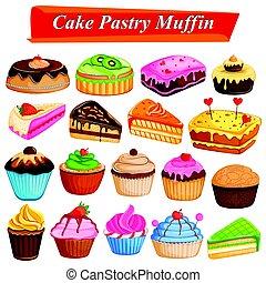 gâteaux, ensemble, délicieux, assorti, nourriture, dessert, patisserie