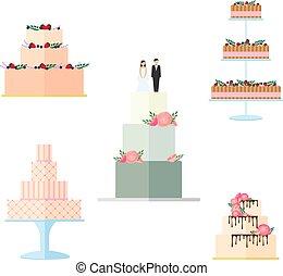 gâteaux, ensemble, isolé, décoration, arrière-plan., mariage, floral, blanc