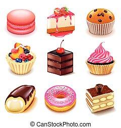 gâteaux, icônes, vecteur, ensemble