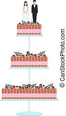 gâteaux, isolé, décoration, arrière-plan., délicieux, mariage, floral, blanc