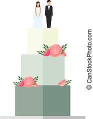 gâteaux, isolé, décoration, arrière-plan., mariage, floral, blanc