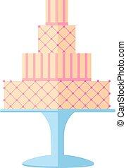 gâteaux, isolé, décoration, arrière-plan., savoureux, mariage, floral, blanc