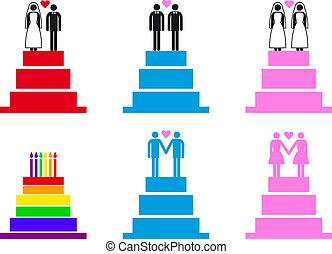 gâteaux mariage, à, couples, vecteur