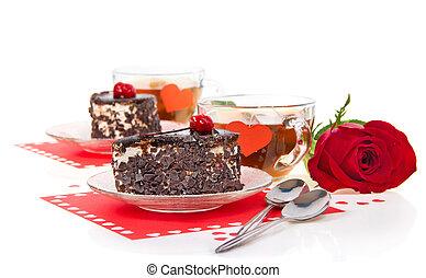 gâteaux, romantique, thé, chocolat, rose, rouges