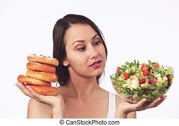 gâteaux, sain, doux, salad?, dilemma:, ou