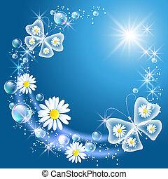 gänseblumen, und, vlinders