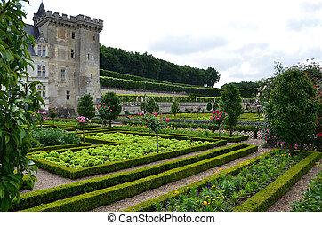gärten, und, chateau, de, villandry, in, loire senke, in,...