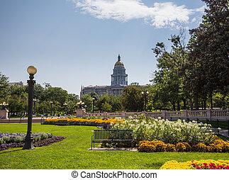 gärten, vor, staatliches kapitol, denver