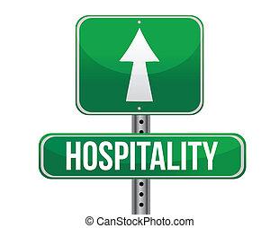 gästfrihet, design, väg, illustration, underteckna