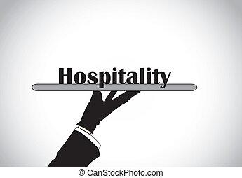 gästfrihet, tjänande, hand, text