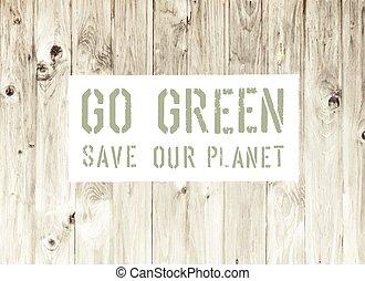 gå, affisch, abstrakt, ekologi, grön