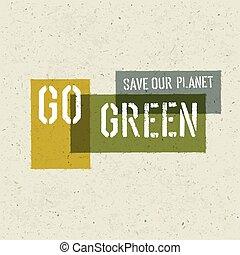 gå, affisch, begrepp, grön