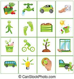 gå, begreb, grønne, iconerne