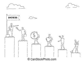 gå, begreb, gruppe, held, folk branche, kort, oppe, finansielle, barer