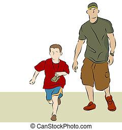 gå, far, søn